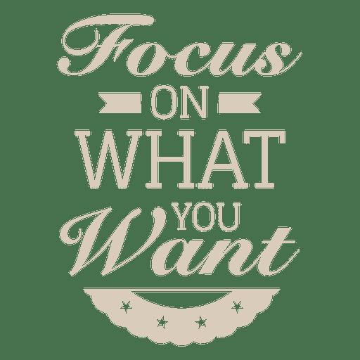 Focus on motivational badge Transparent PNG