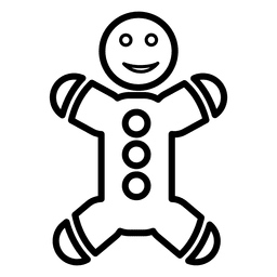 Icono de línea de pan de jengibre