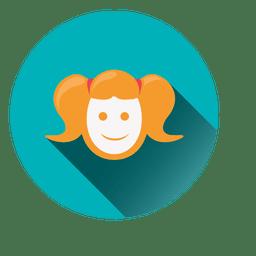 Girl face round icon