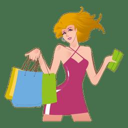 Desenho de menina de compras