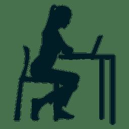 Menina, trabalhando, escrivaninha