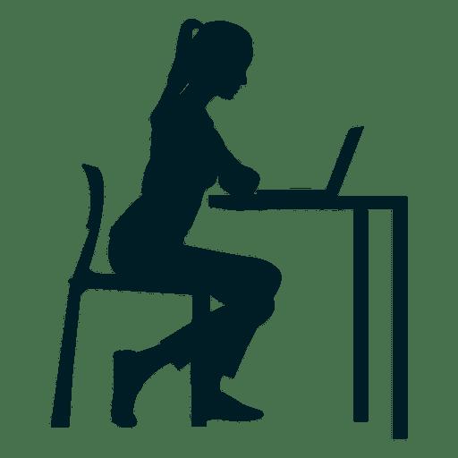 Niña trabajando en el escritorio Transparent PNG