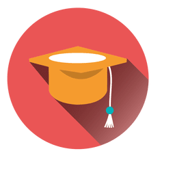 Graduation hat round icon