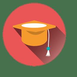 Sombrero de graduación redondo icono