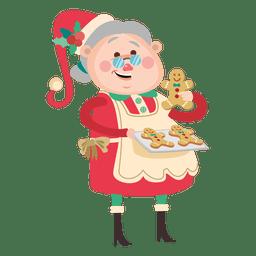 Avó com desenhos animados de biscoitos