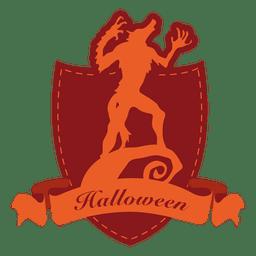 lobo etiqueta de Halloween