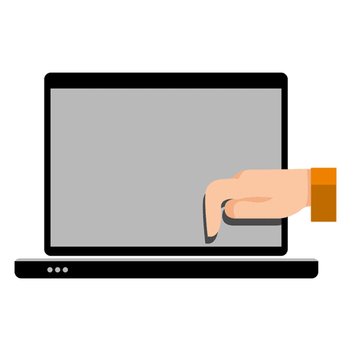 Hand on laptop Transparent PNG