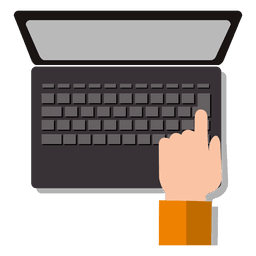 Hand on laptop keyboard