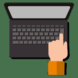 Mão, laptop, teclado