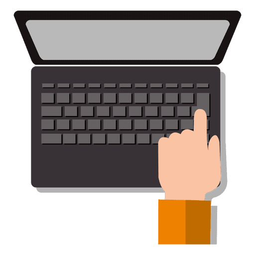 Hand on laptop keyboard Transparent PNG