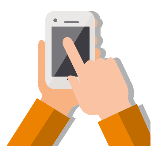 Hand touching smartphone Transparent PNG