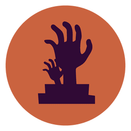 Hands graveyard circle icon