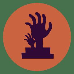 Icono de círculo de cementerio de manos