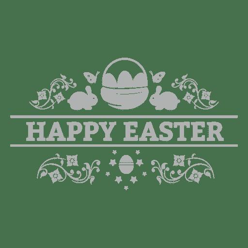 Happy easter chalk badge Transparent PNG