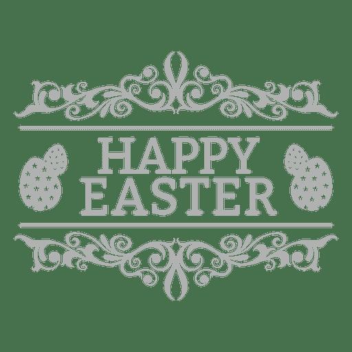Happy easter chalk badge 2 Transparent PNG