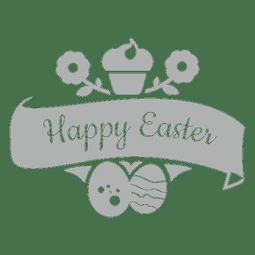 Happy easter chalk emblem 2 Transparent PNG