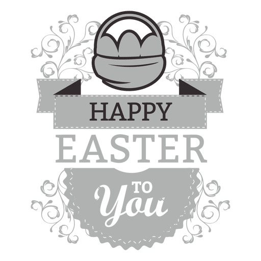 Happy easter chalk label Transparent PNG