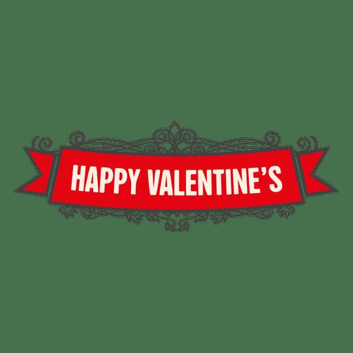 Happy valentines ornament ribbon Transparent PNG