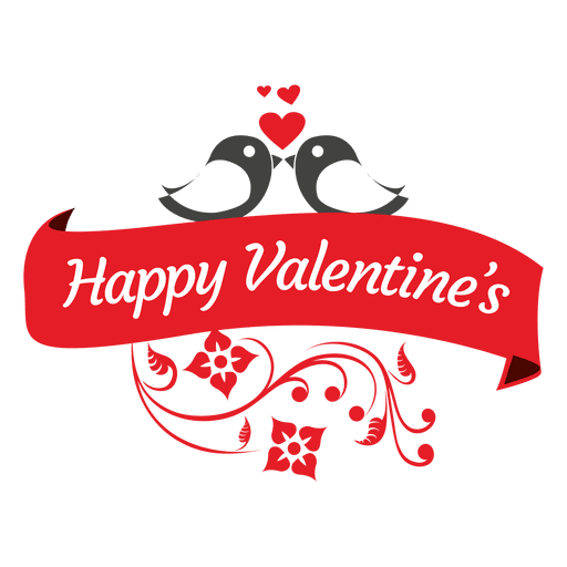 Happy valentines swirls ribbon Transparent PNG