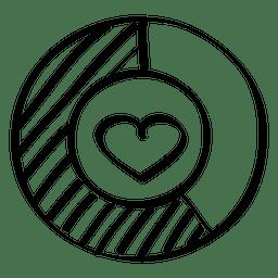 Doodle de gráfico do coração