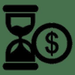 Icono de dólar de reloj de arena