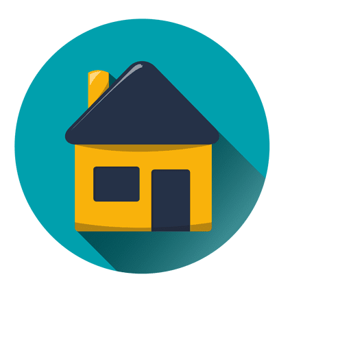 House Round Icon With Drop Shadow on Shapes And Colors