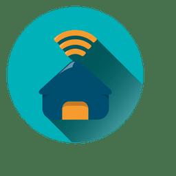 Icono de círculo de wifi de casa