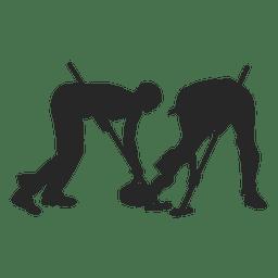 Silhueta de jogadores de curling no gelo