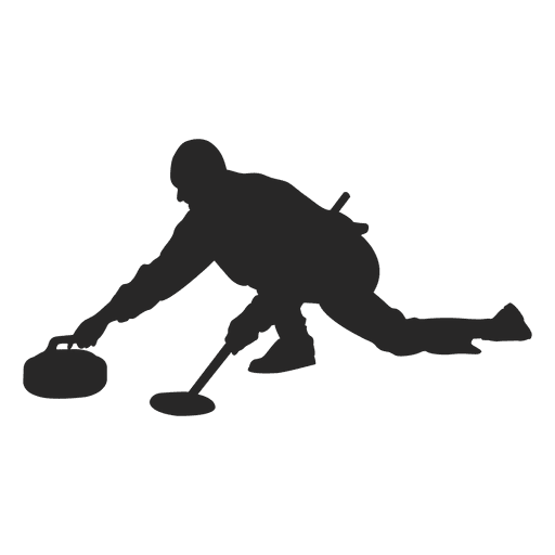 Ice curling silhouette 2
