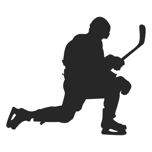 Knelt Ice Hokey Player Silhouette