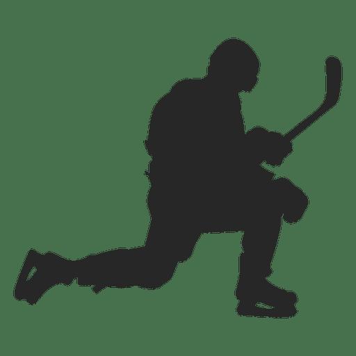 Silueta de jugador de Hokey de hielo arrodillado