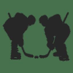 Silueta de jugadores hokey de hielo
