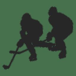 Silhueta de jogadores de hokey de gelo 1