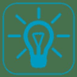 Ícone quadrado luz de ideia