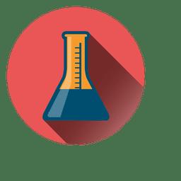 Icono de círculo de matraz de laboratorio