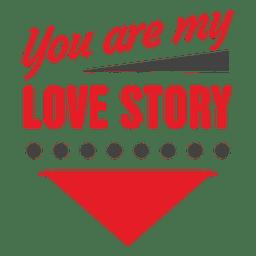 Historia de amor etiqueta de San Valentín