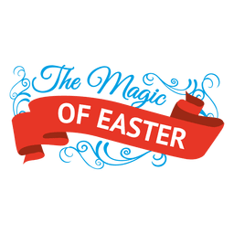 Magic of easter label and ribbon