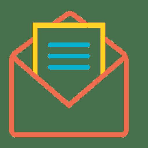 Icono de mensaje abierto de correo colorido
