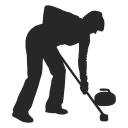 Man ice curling silhouette