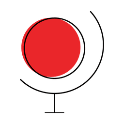 Map world icon with red dot and lines