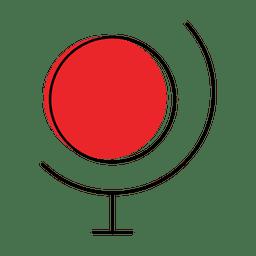 Mapa mundo ilustração com ponto vermelho e linhas