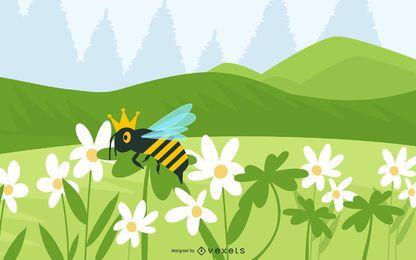 Trevos e abelha rainha