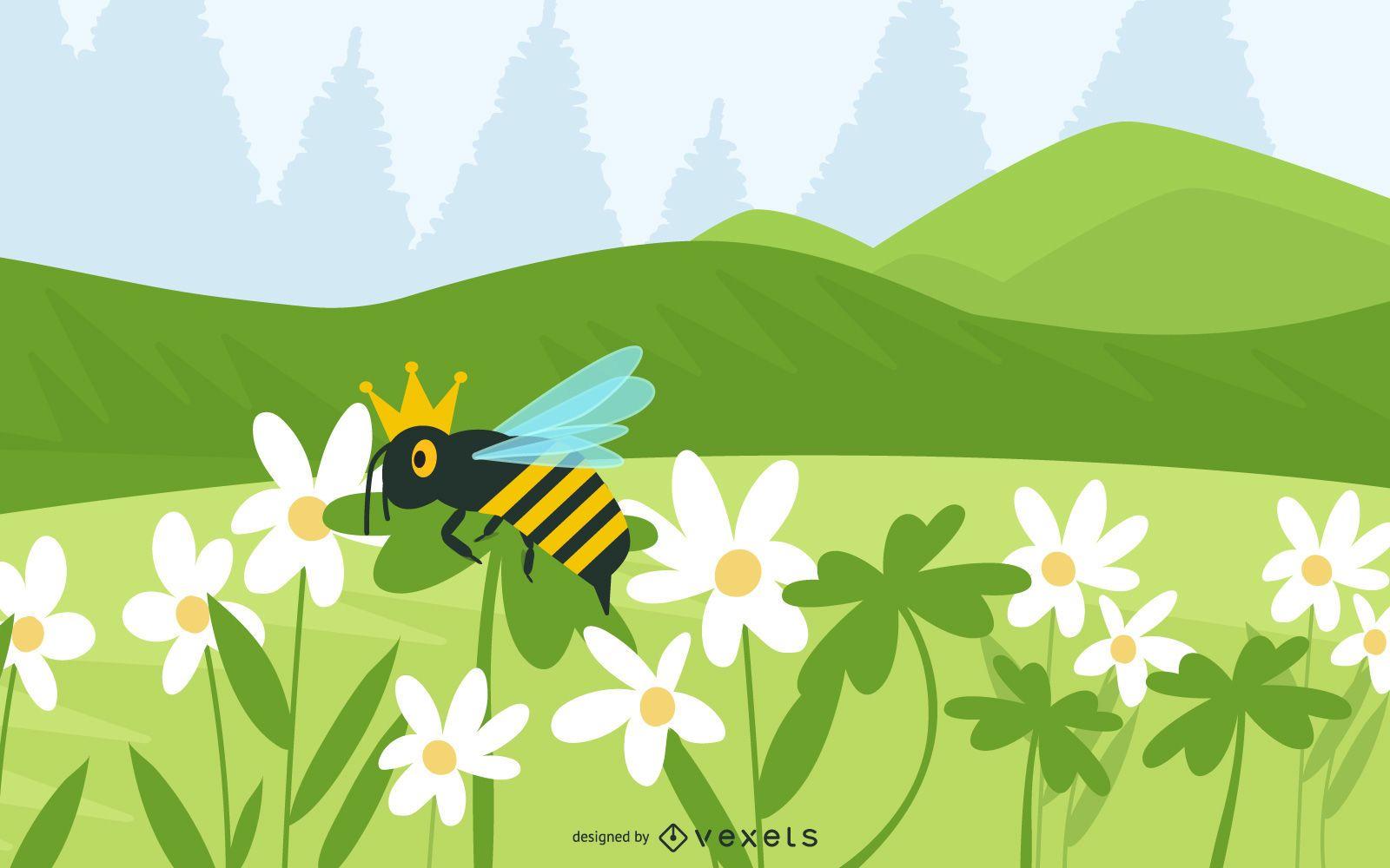 Tréboles y abeja reina