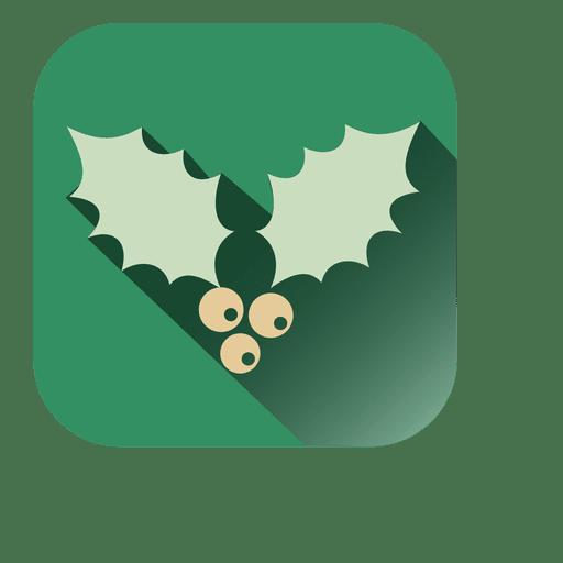 Muérdago Símbolo Cuadrado Verde