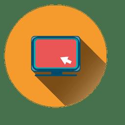 Icono de círculo de monitor de computadora