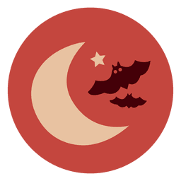 Moon bats circle icon