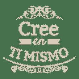 Distintivo espanhol decorativo motivacional