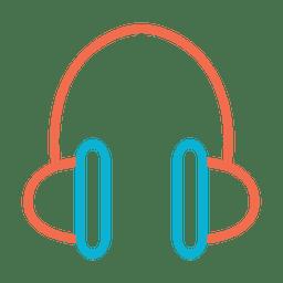 Ícono de auriculares con música colorida
