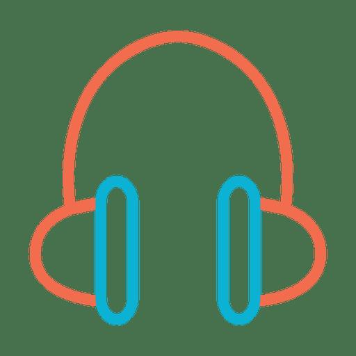 Icono de auriculares de música colorida