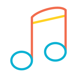 Icono colorido de la nota de la música